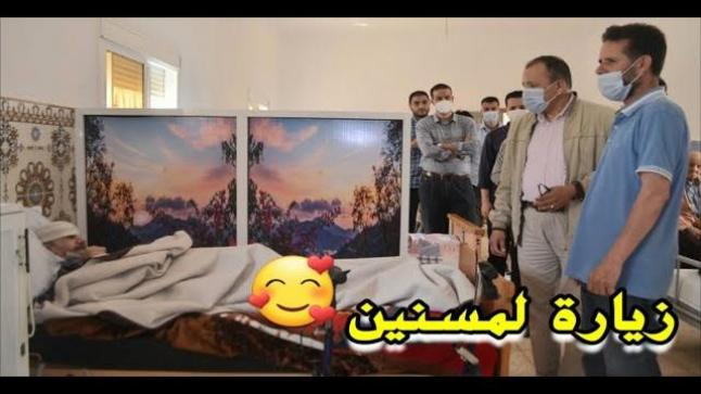"""الدكتور """"أحمد خرطة"""" رفقة طلبة جامعيين في زيارة تفقدية لمركز دار التكافل الإجتماعي بالناظور"""