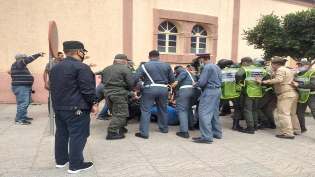 معطلوا سلوان يتعرضون لتدخل قوي في وقفة احتجاجية بسلوان
