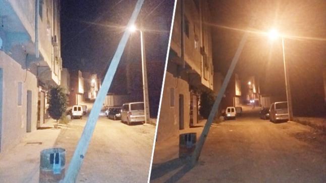 عمود كهربائي آيل للسقوط يهدد سلامة المارة بشارع مدريد ببن الطيب