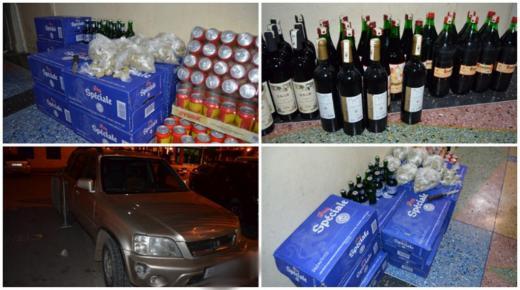 """عناصر الشرطة القضائية بالناظور توقف شخص وتحجز كمية من الخمر وسيارة ب""""اركمان"""" ضواحي الناظور"""