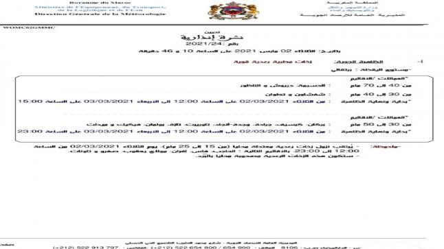 نشرة إنذارية .. زخات مطرية رعدية قوية بالدريوش طول 24 ساعة قادمة